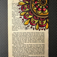 "ON SALE Mandala art, colorful abstract , book page drawing, #Etsygifts, Original drawing on book page, 4"" X 7"". Only one available"