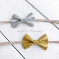 Baby Bow Headband, Baby Headband, Gold Bow Headband, Gold Bow, Glitter Bow, Newborn Headband, Infant Headband, Silver Bow, Bow Headband
