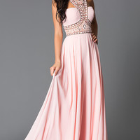 High Neck Pink Beaded Long Prom Dress
