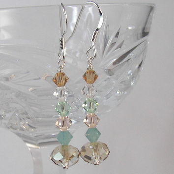 Shabby Chic Sparkle Swarovski Crystal Dangle Earrings