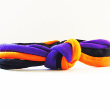 Halloween Knotted Headband  - Baby, Infant, Toddler, Teen, Adult Knotted Headwrap - Turban Jersey Headband - Purple, Orange & Black