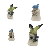 Set of 4 Bisque Bird Thimble Joy Darus, White with Nature Floral Flowers and Birds Figurines, Colorful Collectible Thimbles