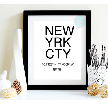 Printable Art, New York City Coordinates, Typography Print, Printable Quotes, Printable Art, Minimalist Poster