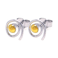 Sterling Silver Round Yellow  Swirl Stud Earrings