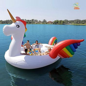 Hot Sale 6 Person Huge Unicorn Pool Float Giant Inflatable Unicorns Swimming Pool Island Lounge For Pool Party