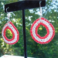Wire Weave Earrings with Red Glass Beads by Cathy Creates