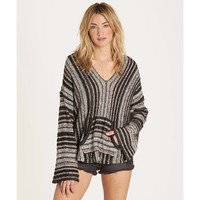 Billabong Women's Baja Beach Classic hooded Poncho Sweater | Off Black