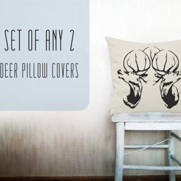 Deer pillow decorative throw pillow cover set of 2 cotton toss pillow case hand painted cushion bedding bedroom set 18x18 inches