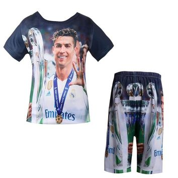 2018 New baby boys t shirt set  Real Football star t-shirt 3D Madrid C Ronaldo pajamasks cartoon for Kids short pant clothing