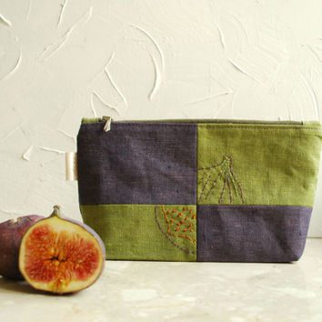 Linen Embroidered Fig fruit  Pouch- Green Purple Zipper Cosmetic Bag- Eco Friendly pouch-Geometrical Organizer