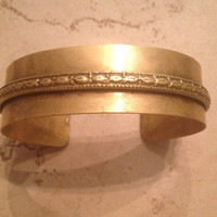 Vintage Brass Bracelet Patterned Cuff Boho Jewelry
