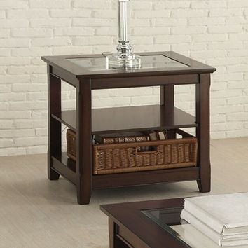 Hagen collection cherry finish wood end table with basket