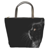 Fluffy Black Persian Cat Handmade Bucket Bag Handbag Leather Fabric