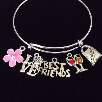 Custom Best Friend Wine Pink Flower Shopping Love Dog Paw Silver Expandable Charm Bracelet Adjustable Wire Bangle Gift