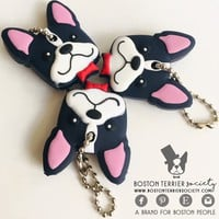 BostonTerrier key cover perfect for your dog keychain - Frenchie or Boston key heads or zipper charm pulls