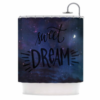 "Robin Dickinson ""Sweet Dream"" Black Purple Galaxy Shower Curtain"