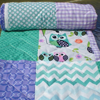 Modern Baby quilt,Teal,lavender,purple,mint green,patchwork Crib quilt,woodland,rustic,baby boy bedding,baby girl quilt,toddler quilt,owls