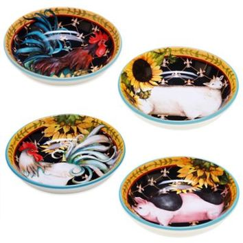 Certified International French Barnyard Soup/Pasta Bowls (Set of 4)