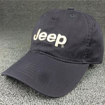 Day-First™ Unisex Retro Gray Embroidered Jeep Cotton Baseball Hat