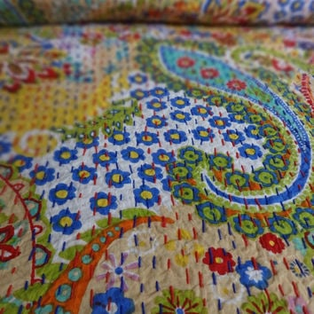 Designer Multi Color Paisley Printed Kantha Quilt, Queen Size Luxury Bedding, Handmade Kantha Throw, Reversible Bed Cover, Beige Color Theme