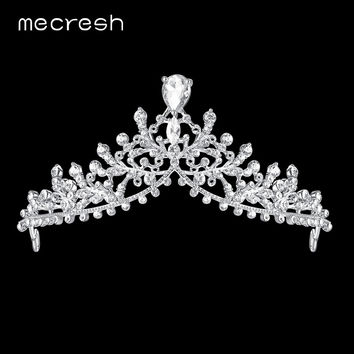 Mecresh Water Drop CZ Bridal Tiaras and Crowns Silver Color 2017 Fashion Crystal Leaf Princess Wedding Hair Accessories MHG120