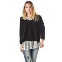 Black knit crop sweater with V neck