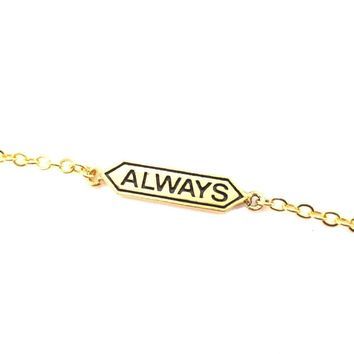"Harry Potter Themed ""Always"" Snape and Lily Remembrance Charm Bracelet in Gold"