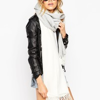 ASOS Oversized Scarf In Colourblock With Tassels