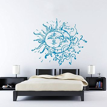 Wall Decal Vinyl Sticker Decals Art Home Decor Murals Sun Moon Crescent Dual Ethnic Stars Night Symbol Sunshine Tribal Flame Fire Bathroom Bedroom Dorm Decals AN90