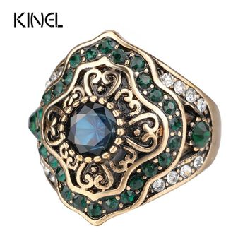 Kinel New Arrival Vintage Wedding Rings For Women Antique Gold Color Inlaid Green Crystal Fashion Party Gift