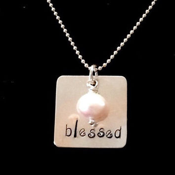 Blessed Sterling Silver Square Hand Stamped Necklace with Genuine Freshwater Pearl by Tickle Bug Jewelry