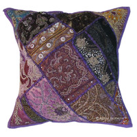 Vintage Antique Purple Heavy Bead Works & Embroidered Decorative Throw Pillow Cover Sham