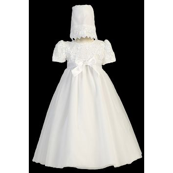 Satin Ribbon Flower Bodice on White Tulle Overlay Christening Dress (Baby Girls Newborn - 18 months)
