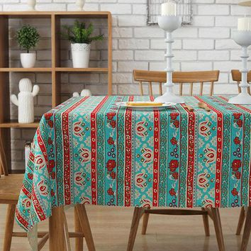 Geometric Bohemian Ethnic African Printed Cotton Canvas Fabric Tablecloth Sofa Decoration
