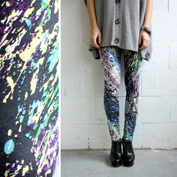 Splatter Leggings Cotton Jersey XS S M by iheartnorwegianwood