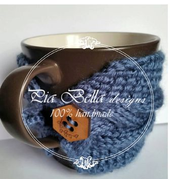 Cable knitted Cozy mug, Chunky knit, knit cup cozy, coffee cozy, coffe mug cozy,tea cozy, cup sleeve,knit mug warmer