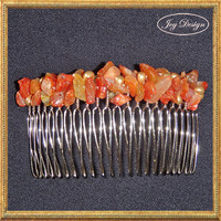 Handmade Hair Comb with Natural Baltic Amber Nuggets and Raw Baltic Amber Beads on a Metal Comb Bridesmaid Prom Mother of the Bride or Groom