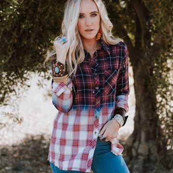 Bleached Flannel Button Up Top - Burgundy