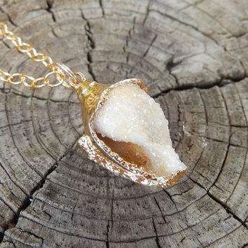Petite Fossilized Druzy Shell Necklace 24K Gold Crystalized Small Mini Drusy Seashell Fossil Pendant- Free Shipping OOAK Jewelry