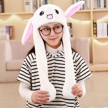 Funny Moving Hat Rabbit Ears Plush Cute Airbag Cap Winter Hats For Women Men Kids Beanie Pompom Warm Animal Caps