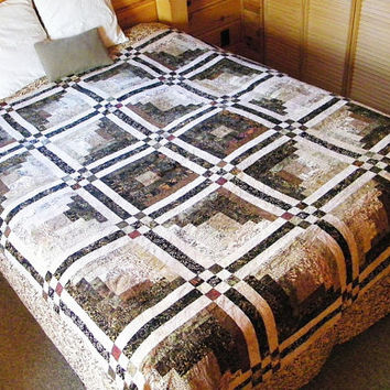 Patchwork Quilt, Queen Bed Quilt, Log Cabin
