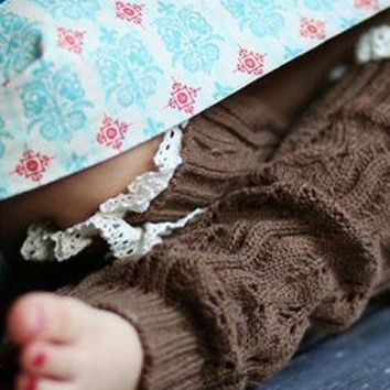 Girls Cozy Brown Legwarmers