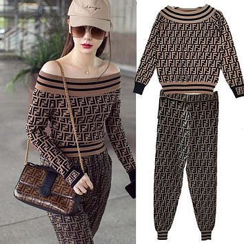 FENDI Women Fashion Strapless Top Sweater Pullover Pants Trousers