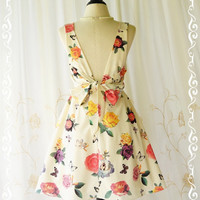 A Party V Charming Dress Faded Roses Print Creamy Backless Party Dress Floral Spring Summer Sundress Floral Wedding Bridesmaid Dresses XS-XL