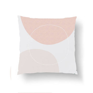 Pastel Circles Art, Geometric Textures, Throw Pillow, Decorative Pillow, Mid Century, Pink Pillow, Home Decor, Cushion Cover, Simple Design