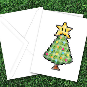 PRINTABLE Pixel Christmas Tree Card & Tag Set | 8-Bit Card | Pixel Art | Video Games