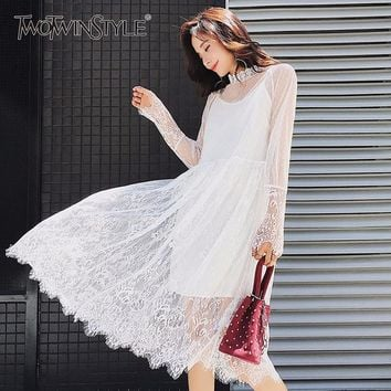 TWOTWINSTYLE Basic Lace Dress Female Stand Collar Tunic High Waist Big Size Midi Dresses 2018 Spring Fashion Sweet Clothing