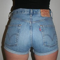 Vintage Light Denim Reworked High Waisted Levis 501 Shorts from Beworn