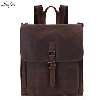 Men's vintage genuine leather backpack crazy horse leather mens rucksack durable cow leather school bag work day pack