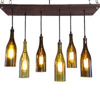 Wine Bottle Chandelier: Industrial Chandelier, Modern Lighting, Mid-Century Chandelier, Wine Bottle Pendant Lighting, Edison Bulbs